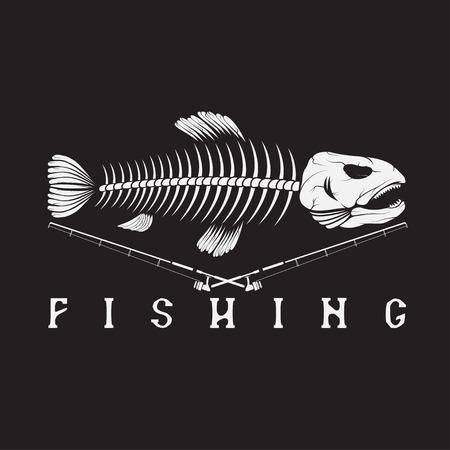 Weinlese-Fischen-Emblem mit Skelett Forellen Standard-Bild - 48672036