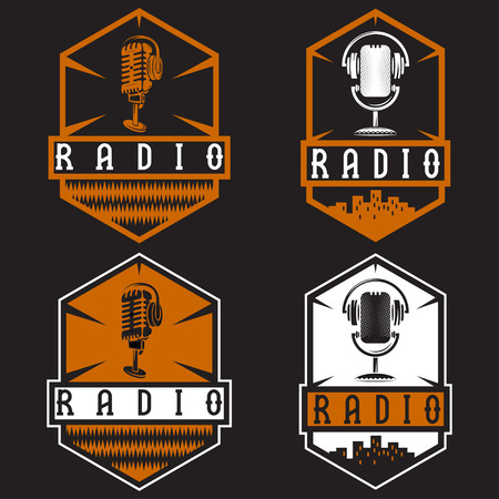 mc: vintage labels of radio with microphone and headphones
