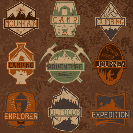 ice climbing: set of vintage grunge labels mountain adventure ,hiking and climbing