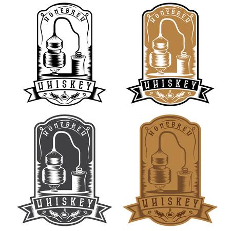 etiquetas vector vendimia de whisky con máquina de alcohol en casa Ilustración de vector