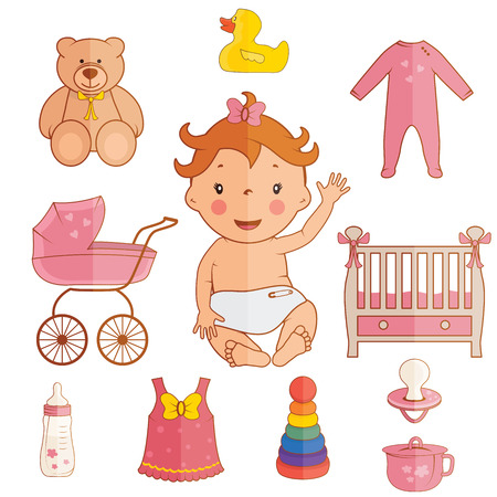 nappies: Set icons of cute baby girl. Vector