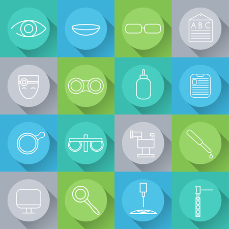 eye pipette: Line craft icons set of ophthalmology and optometry in flat design. Vector
