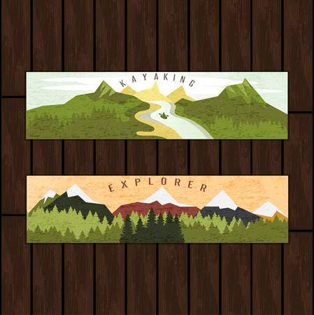 creek: Kayaking holidays forest landscape with mountain peaks and two horizontal banners set on wooden background Illustration