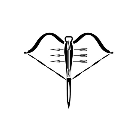 crossbow: vector illustration of crossbow weapon with arrows