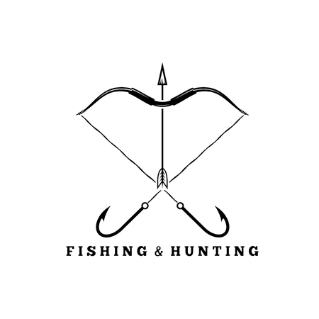 indian fish: fishing and hunting concept with hooks and bow