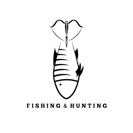 crossbow: fishing and hunting concept with fish and crossbow Illustration