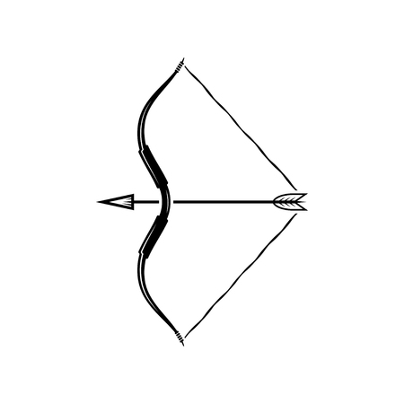bowstring: vector illustration of bow weapon with arrow