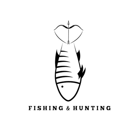 bowstring: fishing and hunting concept with fish and bow