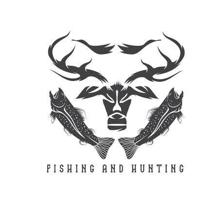 collet: hunting and fishing vintage emblem vector design template