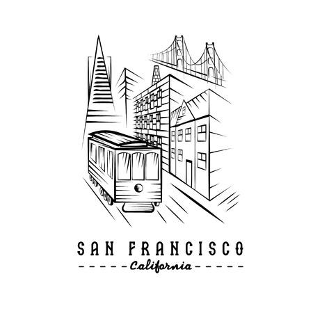 san francisco golden gate bridge: San Francisco Golden gate bridge ,buildings and tram