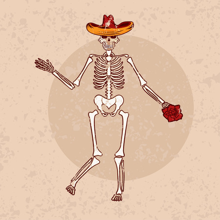 all souls day: dancing skeleton in sombrero with flower grunge vector illustration