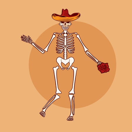 all saint day: dancing skeleton in sombrero with flower vector illustration
