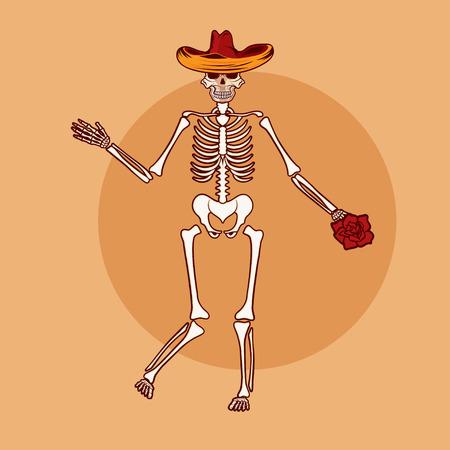 dancing skeleton in sombrero with flower vector illustration