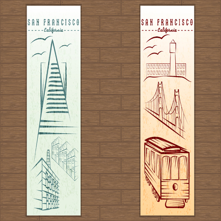 san francisco bay: two vertical banners on san francisco theme