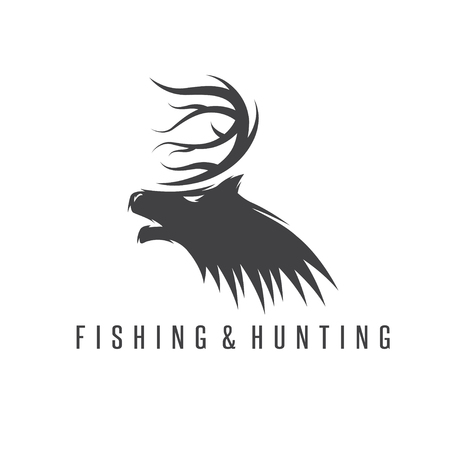 negative space: hunting and fishing vintage emblem vector negative space concept Illustration
