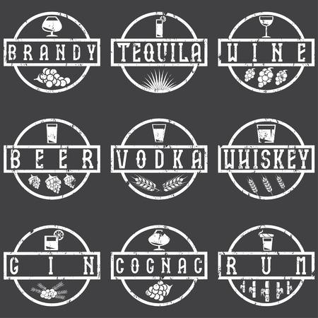 brandy: vintage grunge vector labels set of alcohol drinks Illustration