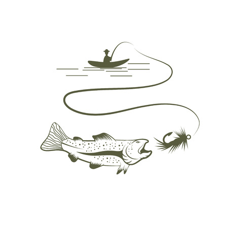 spawning: fisherman in boat and salmon vector illustration