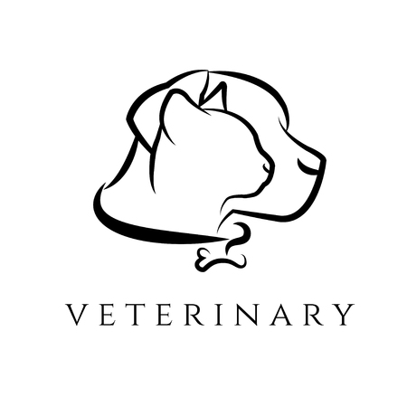 outline red: Logo template for veterinary clinic with cat and dog.