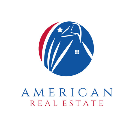 patriots: american real estate concept wit eagle and house