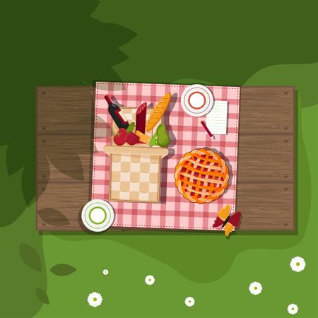 bread basket: cesta de picnic en el fondo de madera Vectores