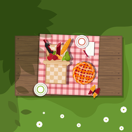 apples basket: picnic basket on wooden background