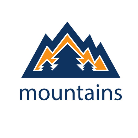 mountains and pines vector design template