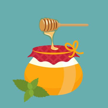 stick bug: Illustration of honey pot and honey dipper with leaf.