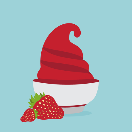 frozen yogurt: frozen yogurt in the cup with strawberry vector design template Illustration