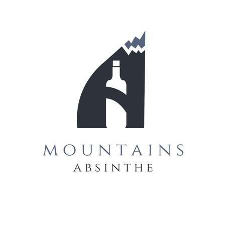 ajenjo: mountain absinthe concept with bottle in letter a
