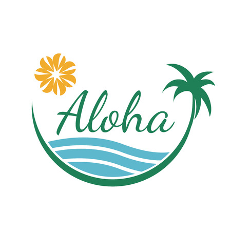 hawaii symbol: tropical travel vector design template with palm tree
