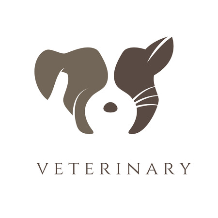 crown tail: Logo template for veterinary clinic with cat and dog.Vector Illustration