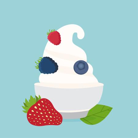 frozen yogurt: frozen yogurt in the cup with berries vector design template