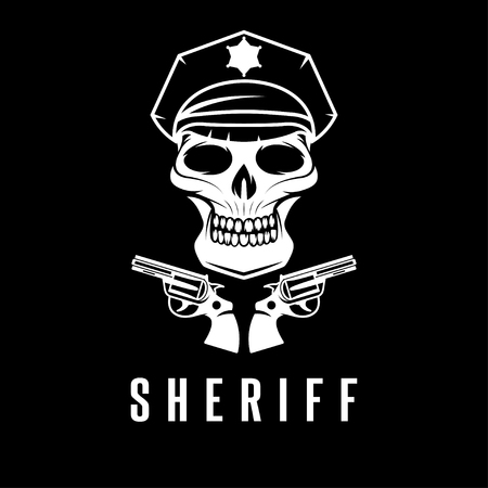 death cap: sheriff skull in cap and guns vector design template