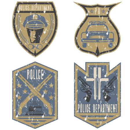 enforcement: set of grunge vintage police law enforcement badges