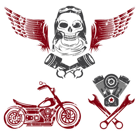 engine pistons: bikers theme grunge labels with motorbike,skull,engine and pistons Illustration