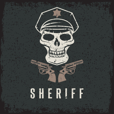 sheriff skull in cap and guns grunge vector design template Illustration