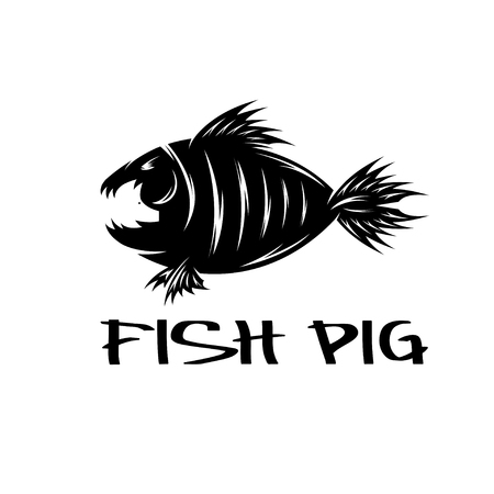 negative space: fish and pig negative space vector concept Illustration