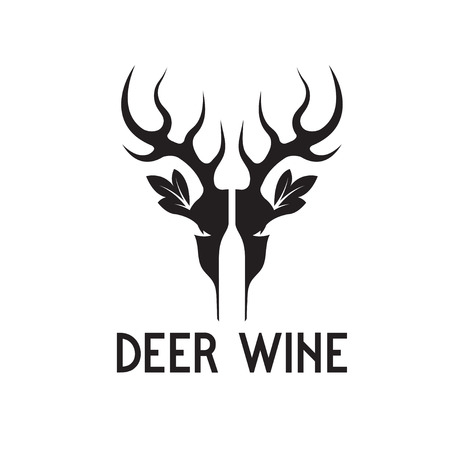 negative space: deer wine negative space vector concept