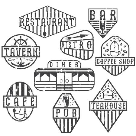 retro grunge: set of grunge vintage labels with places of food and drink Illustration