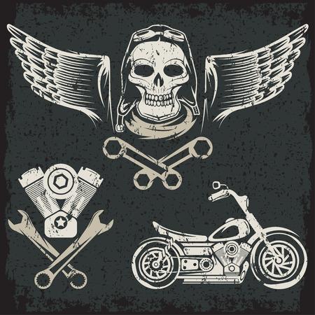 animal skull: bikers theme grunge labels with motorbike,skull,engine and pistons Illustration