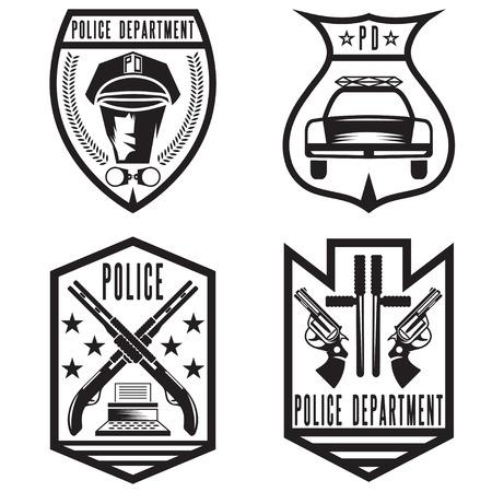 enforcement: set of vintage police law enforcement badges