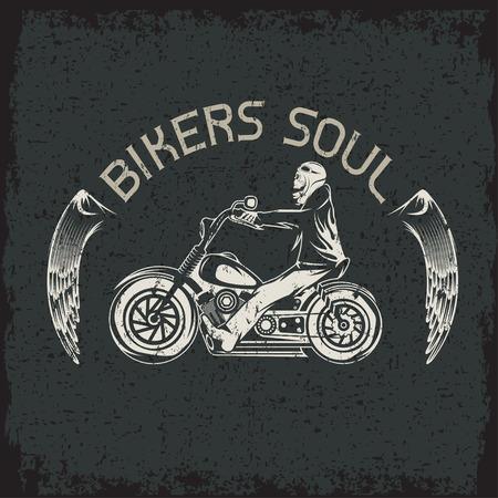 animal skull: bikers theme grunge label with skeleton on motorbike Illustration