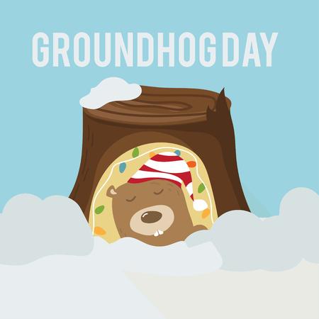 beginning: Greeting card to groundhog day. Beginning spring. Vector