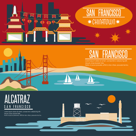 san francisco bay: San Francisco landmarks horizontal flat design banners
