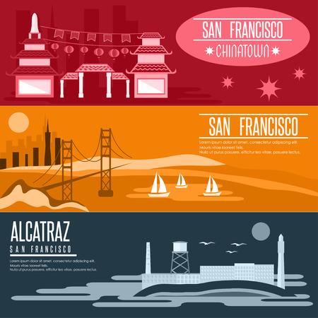san francisco bay: San Francisco landmarks horizontal flat design banners