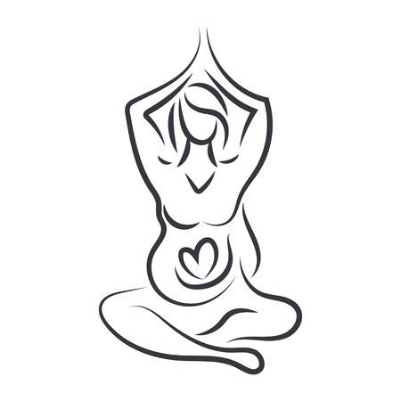 pregnancy yoga: Pregnant women in yoga pose in line art style.