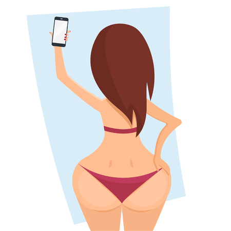 Make belfie photo pretty woman. New trend selfie.