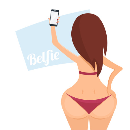 Make belfie photo pretty woman. New trend selfie. Фото со стока - 50411653
