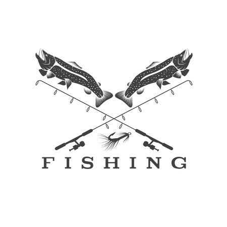 largemouth: vintage fishing design template Illustration