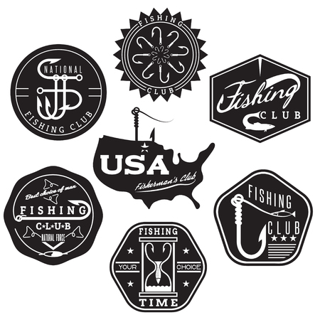 bass: collection of vintage labels on fishing theme Illustration